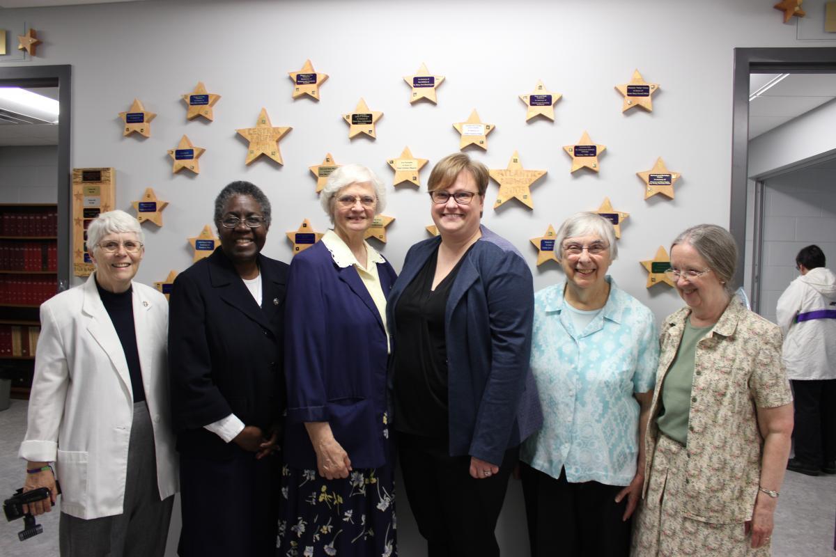Sr. Mary Kay Ash, Sr. Vicki Chambers, Sr. Joan Frey, Michele Levandoski, Sr. Mary Ann Kuttner and Sr. Charlaine Fill